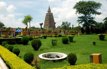Mahabodhi Lawn Side View