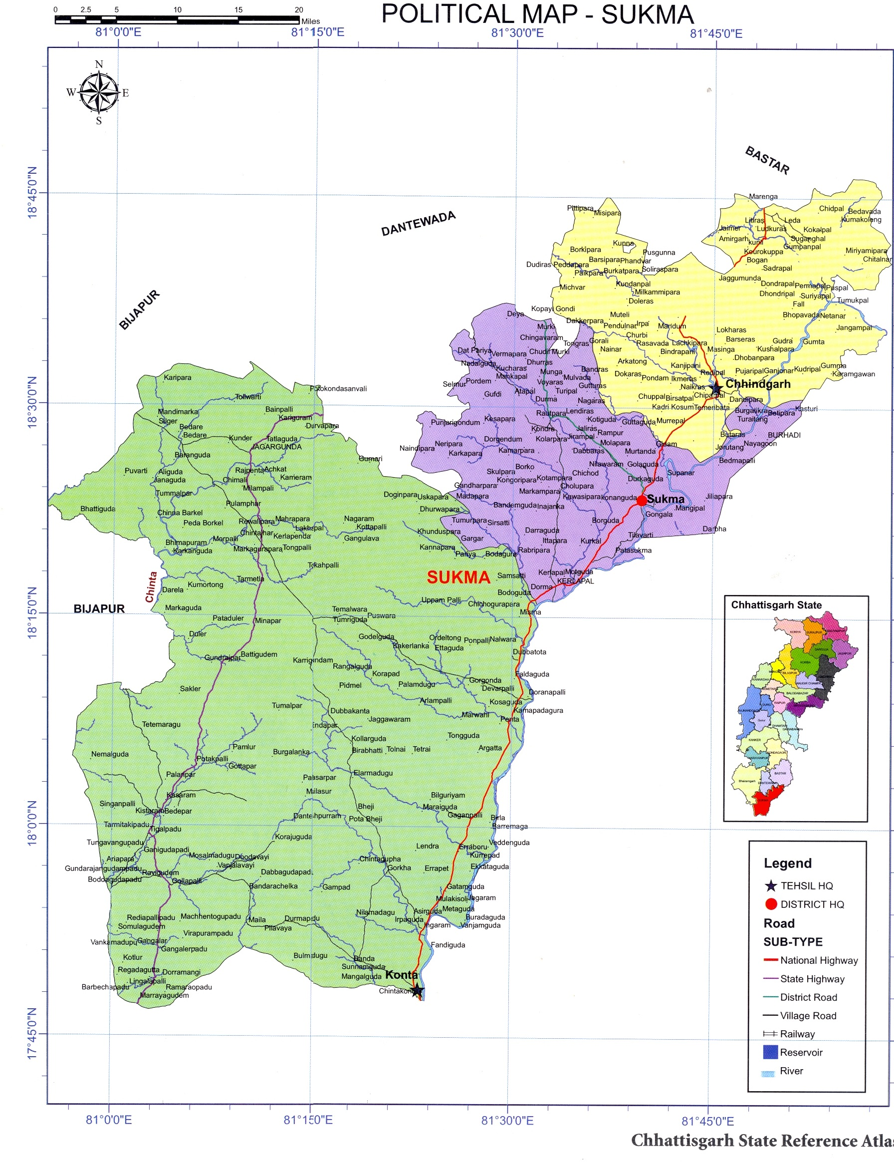 Sukma District Map
