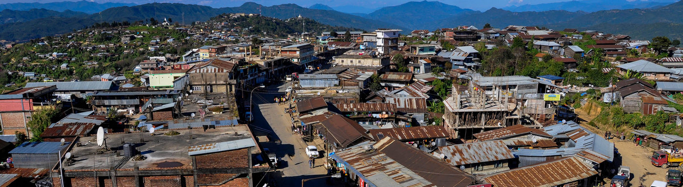An areal view of Ukhrul Town