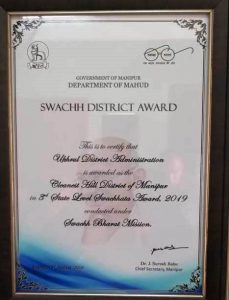 Ukhrul receives Cleanest Hill District of Manipur