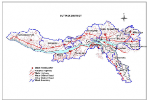 Cuttack District Map.