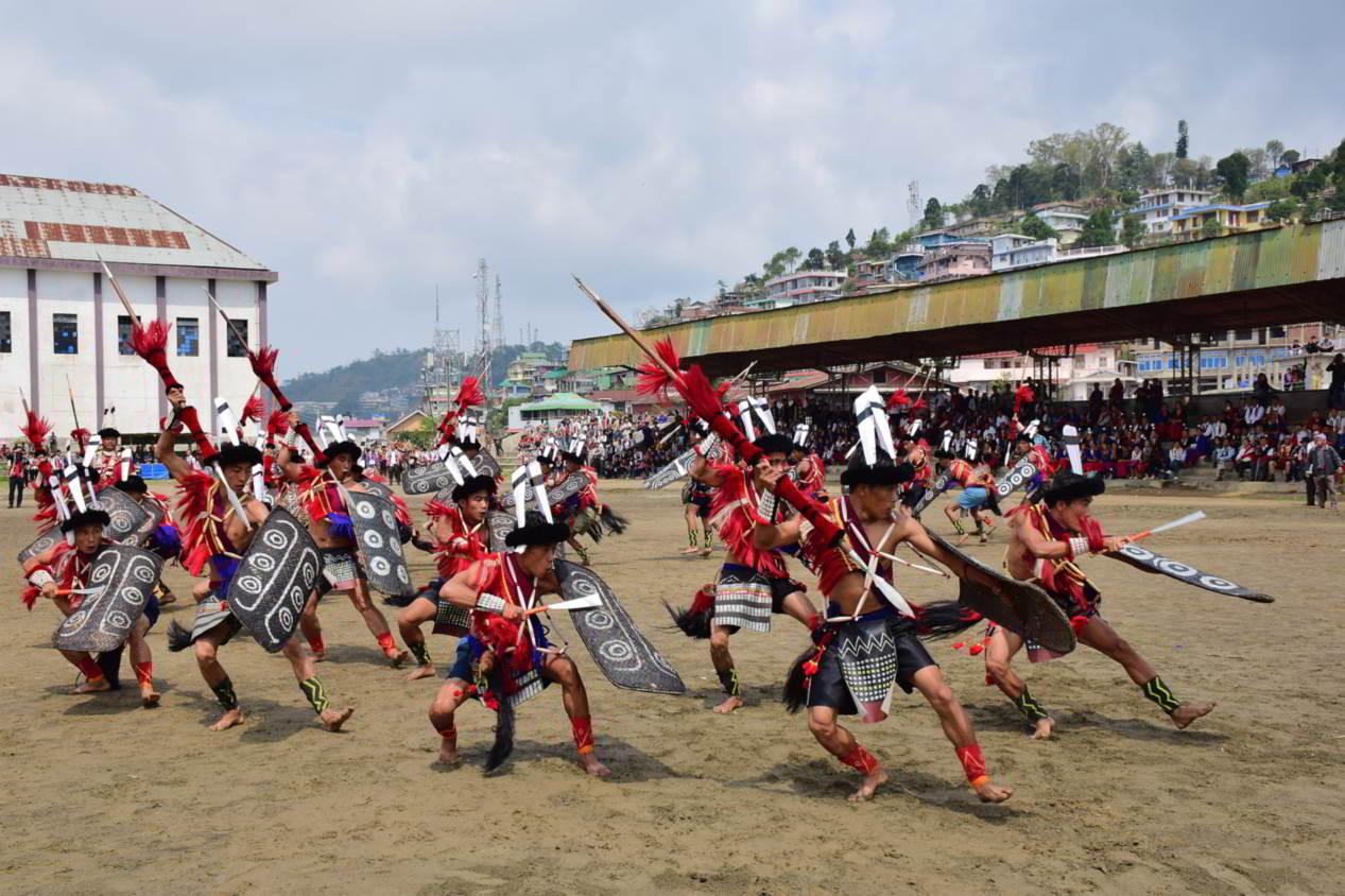 Ao tribals performing a war dance
