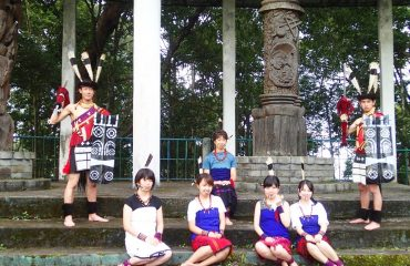 Ao tribals in traditional costume at Mopungchuket Waseda University International Network