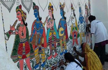 Mithila Painting at Guest House with theme