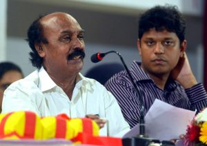 Revenue Minister E Chandrasekharan speaks at a high-level meeting at Aluva on Friday held to review the flood situation...