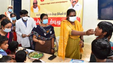 National Deworming Day - The district collector distributed deworming tablets to children's