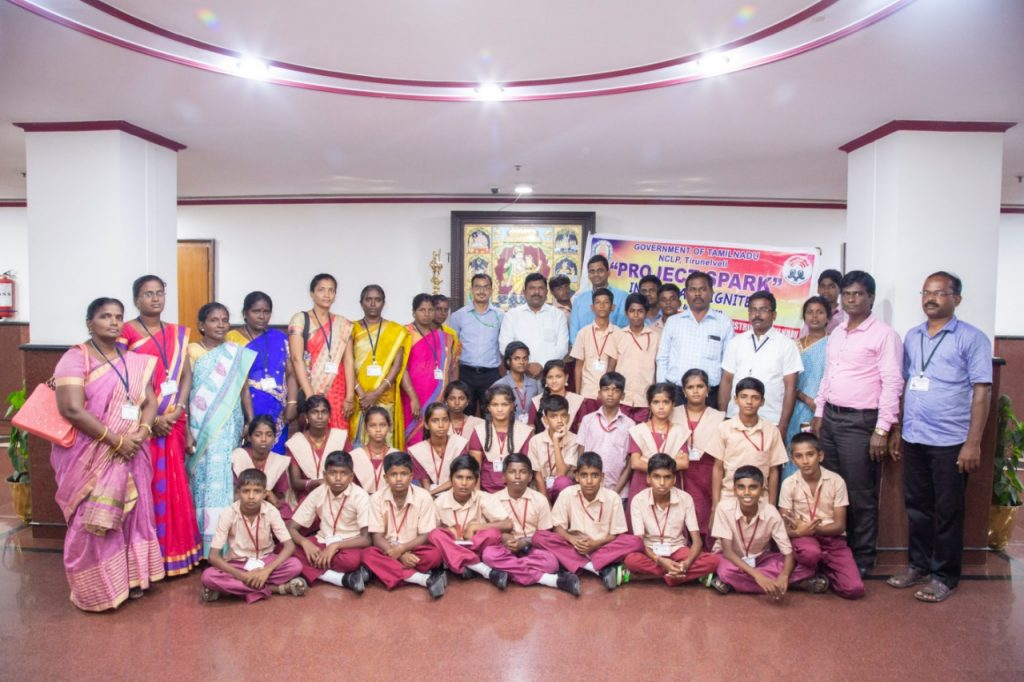NCLP Tirunelveli STC Children having group photo with Residential Commissioner of Tamilnadu House along with IAS officers training