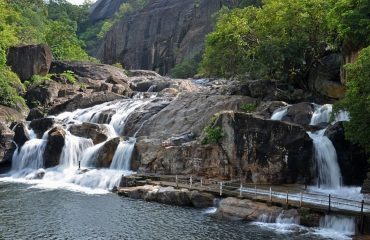 Long view of Manimuthar Falls