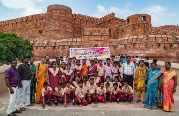 NCLP Tirunelveli STC Children in front of Agra Fort as a part of Project spark-inspire and ignite.