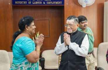Tmt.Vijila Satyananth M.P is being welcomed by Honrable Labour and Employment Minister Govt of India in his office.