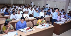 District Collector conducted review meeting on R&B Department with SE, EE, DE, AEs at Vidhana gowthami kakinada on 31-12018