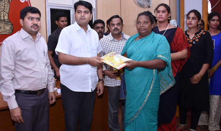District Collector distributed pensions to Transgenders in Collectorate