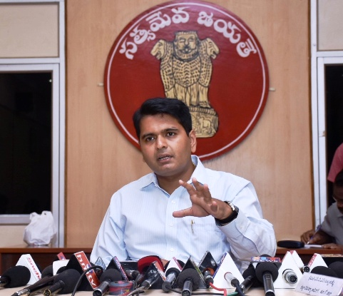 Distirct Collector conducted press meet on 17-05-2018 at Collectorate Kakinada