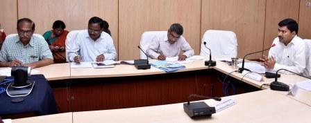 Joint Collector conducted review meeting through video conference with Flood Effected Areas RDOs, MROs, MPDOs and Special officers at collectorate kakinada on 25-08-2018.