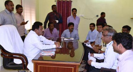 v Deputy Chief Minister conducted meeting with bankers at Peddapuram Municipal office on 27-08-2018.