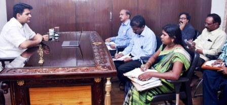 District Collector conducted review meeting through Video conference on Dengue Fever with DM&HO, Municipal Commissioners, Revenue Divisional Officers and Tahsildars from Collector's Camp office Kakinada on 01-09-2018.