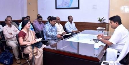 District Collector conducted meeting with DCHS, DMHO and Evaluation team from Central Government at Collectorate kakinada on 10-09-2018.
