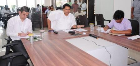 On 15-9-2018 District Collector conducted review meeting on electoral registration process through VC from Rajamahendravaram.
