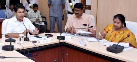 District Collector conducted review meeting through Video conference on progress of works, schemes of all departments with Sub Collectors, Municipal Commissioners, District Officers, RDOs, MPDOs and Tahsildars at Collectorate, Kakinada on 17-09-2018.