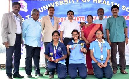 Incharge Collector and Joint Collector Sri Aanam Mallikarjun IAS distributed prizes to winners of Dr. NTR Health University Inter collegiate Athletic meet at Rangaraya Medical College Ground, Kakinada on 12-10-2018.