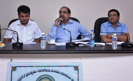 Principal Secretary Roads and Buildings Sri Neerab Kumar Prasad IAS conducted review meeting with District collector and Road Project's Officers at Roads and Buildings Guest House Kakinada on 31-10-2018.