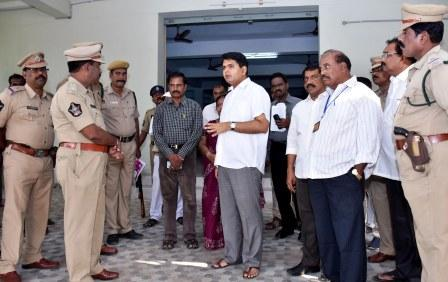 District Collector, Joint Collector-2, District Revenue Officer, Representatives of Political Parties and other officers visited EVM Godown at Kakinada on 09-11-2018.