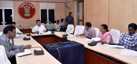 District Collector conducted video conference with All Municipal commissioners on TIDCO Housing Activities at Collectorate, Kakinada on 09-11-2018.