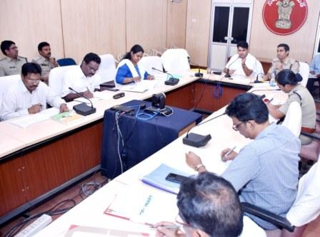 District Collector and Superintendent of Police conducted review meeting on Road Safety at Collectorate, Kakinada on 20-11-2018.