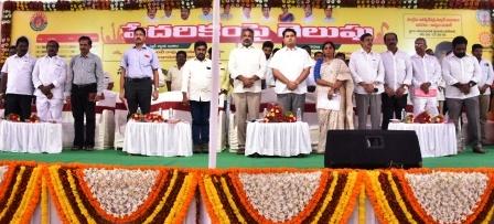 Kakinada City MLA Sri V. Venkateswararao, District Collector Sri Kartikeya Misra, Kakinada Mayor Smt. S.Pavani and others participated in 2nd Round Pedarikam pai gelupu mega loan mela and Aadarana-2 programme at Anand Bharathi Ground, Kakinada on 06-12-2018.