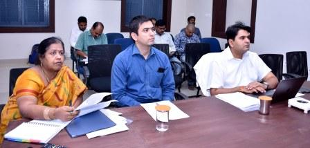 District Collector, Rajamahendravaram Municipal Commissioner and District Revenue Officer participated in Election commission's Video conference from Collectorate kakinada on 11-12-2018.