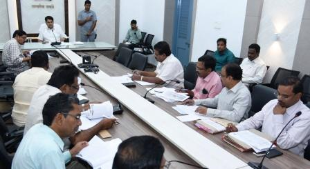 On 22-01-2019 District Collector conducted review meeting on Urban Housing, DRDA, Primary Sector, Education, Social welfare and Minority welfare at Collectorate Kakinada with Municipal Commissioners, Departmental officers and Bankers.