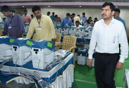 On 11-02-2019 Joint Collector conducted mock poll on EVMS and VVPATS in presence of political parties at Ambedkar Bhawan, Kakinada.