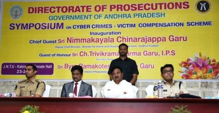Honourable Deputy Chief Minister Inaugurated Syposium on Cyber Crimes - Victim Compensation Scheme at Sanate hall, JNTU Campus, Kakinada on 23-2-2019. DIG Ch Trivikarm kumar, Director of Prosecuton Byra Rama Koteswara rao, SP Vishal gunni, Crime spots U.Ram Mohan and others participated