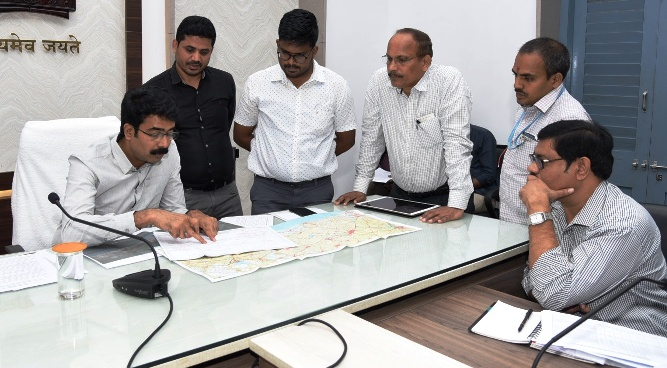 On 19.06.2019 District Collector reviewed Bharath Mala Alignment and Land Acquisation progress at Collectorate, Kakinada.