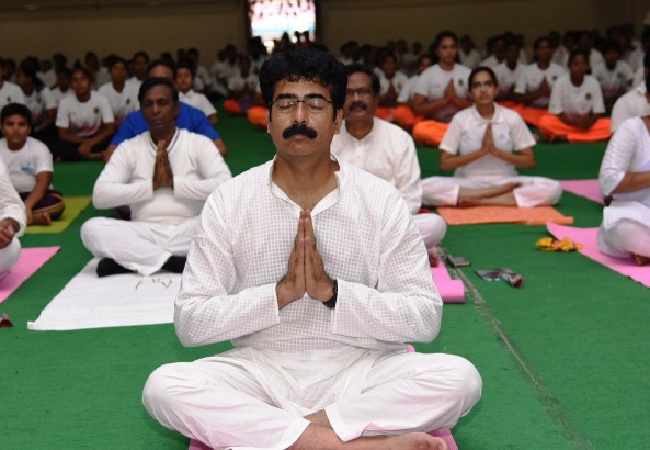District Collector and others participated in International Yoga Day Celebrations at Surya Kalamandhir, Kakinada on 21.06.2019.