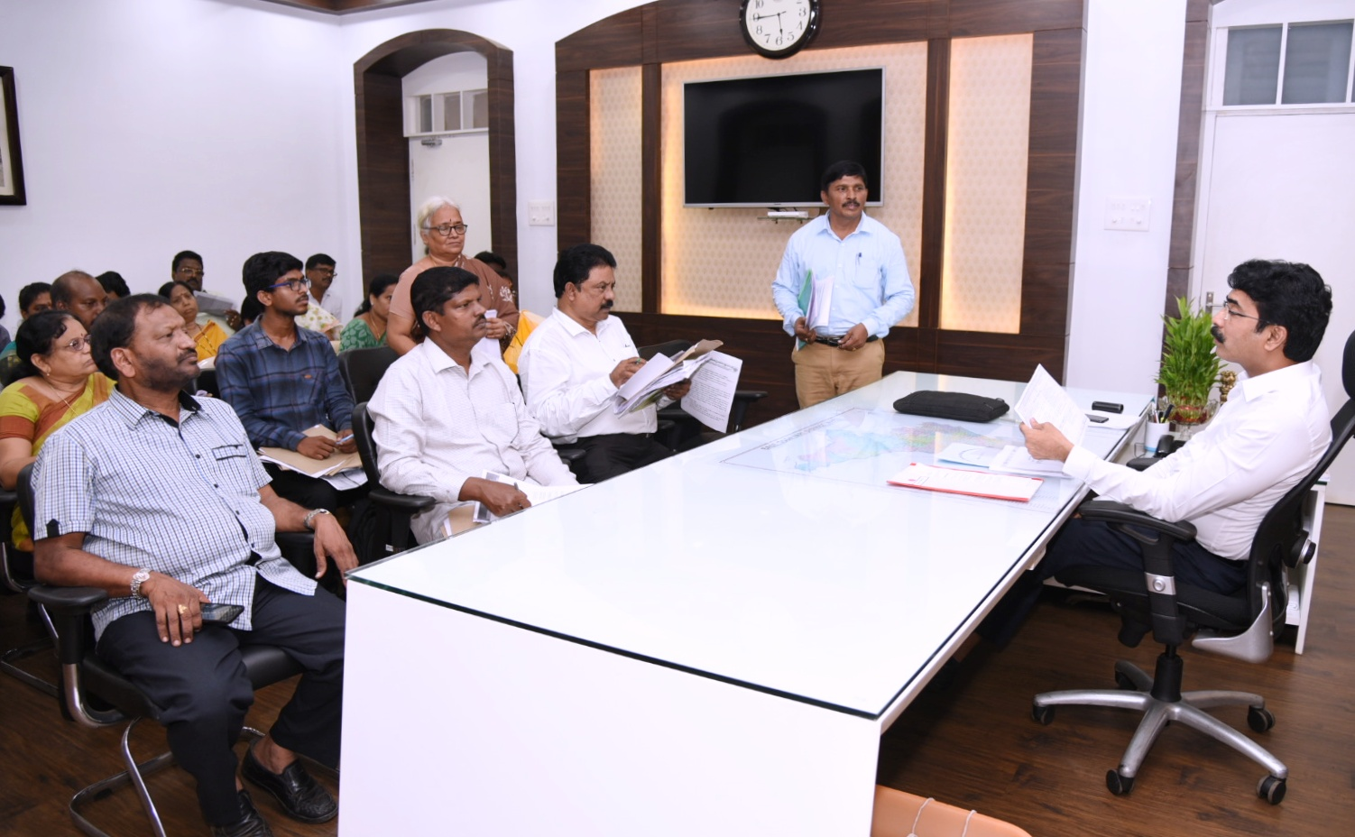 ICDS officers meeting with Collector