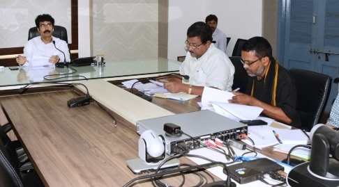 On 23.10.2019 District Collector other officials participated in the video conference conducted by Principal Secretary Agricultural on Rythu Bharosa from collectorate, Kakinada.