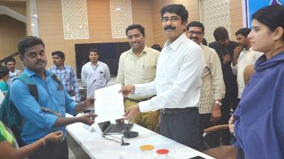 On 18.11.2019 District Collector handed over the appoint letters to candidates, those who are eligible for Compasinate Ground Appointments. Joint Collector, Joint Collector-2, District Revenue Officer and Other Officers participated.