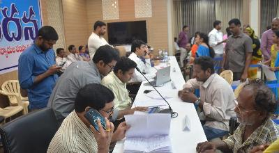 On 18.11.2019 District Collector and Joint Collector conducted Spandana Public Grievance. Joint Collector-2, Distirct Revenue Officer and Other Officers participated.