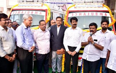 On 24.01.2020 District Collector, Member of Legislative Kakinada Urban and Superintendent Government General Hospital inaugurated Ambulances.