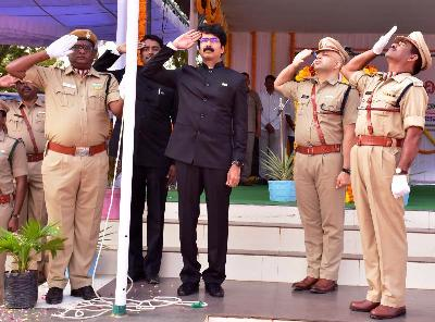 On 26.01.2020 District Collector hoisted National Flag on the eve of 71st Republic Day at Police Parade Grounds, Kakinada.