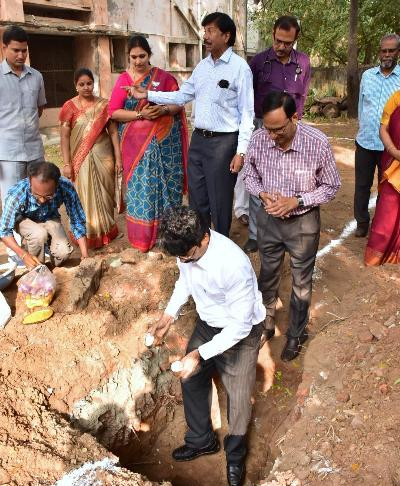 On 31.01.2020 District Collector laid foundation stone for Digital Evaluation Block at Rangaraya Medical College, opposite Government General Hospital Kakinada.