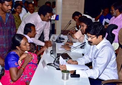 On 17.02.2020 District Collector, Joint Collector conducted Spandana Public Grievance, received petitions from Citizens. Joint Collector-2 and other officials participated