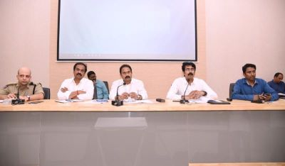 On 23.03.2020 Honourable Health Minister and Agriculture Minister conducted review on Corona Virus at collectorate, Kakinada. Honourable Member of P arliament Kakinada, MLA Kakinada Urban, District Collector, SP, Joint Collector and District officers participated.