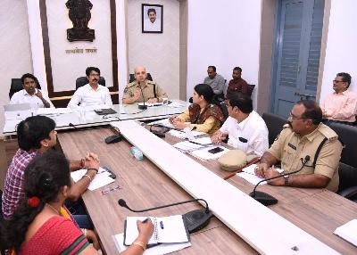 On 26.03.2020 District Collector, Superintendent of Police and Joint Collector conducted mandal level video conference with all District officers, Police Department officials, Health Department officials, RDOs and Tahsildars on Corona Virus at collectorate, Kakinada.