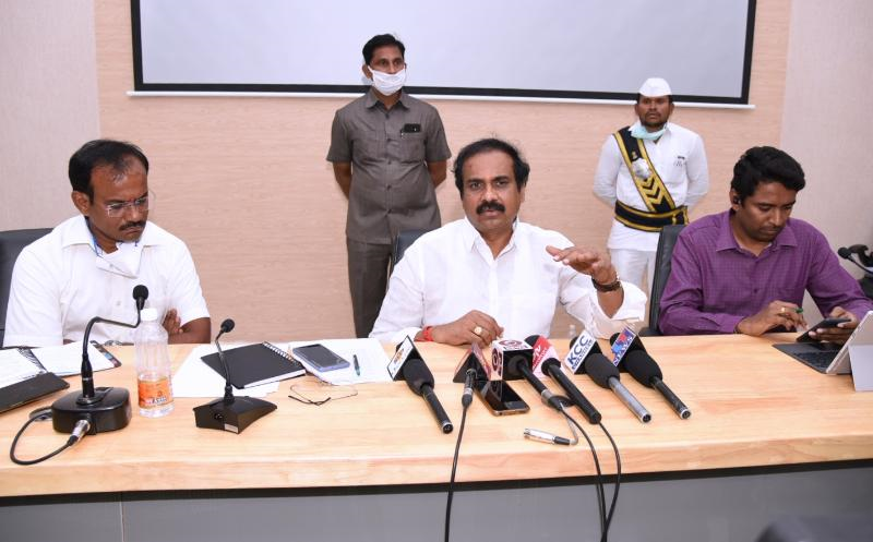 On 31.03.2020 Honourable Agriculture Minister and Joint Collector conducted meeting with Edible Oil Industries Representatives at Collectorate, Kakinada.