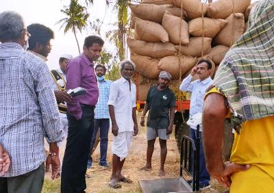 On 20.04.2020 Joint Collector inspected paddy procurement process at medapadu village of Samalakota mandal.