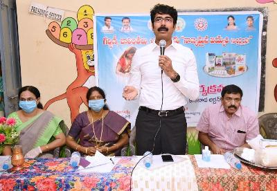 On 05.06.2020 Honourable Member of Parliament Kakinada, Member of LegislativeAssembly Kakinada City and District Collector distributed Sortex Rice, THR and Bala Sanjivini to Pregnant and Lactating mothers at Anganwadi Center, Sambamurty nagar Kakinada.