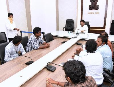 On 08.06.2020 Joint Collector conducted review on sand with DSO, AD SO, Lorrys and Boats man Associations at collectorate, Kakinada.