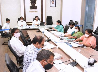 On 08.06.2020 District Collector conducted mandal level video conference from Collectorate, Kakinada with Sub Collectors, Municipal Commissioners, District officers, RDOs, MPDOs, Tahsildars and with MEOs on Sand, Nadu Nedu, NREGS, House Sites, Covid-19. Joint Collector(R), Joint Collector(D) and Joint Collector(W) participated